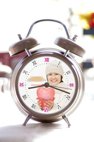 写真入り録音機能付目覚し時計-2【グレージュ】(ローマ数字)
