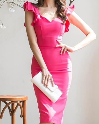Wフリルショルダータイトドレス