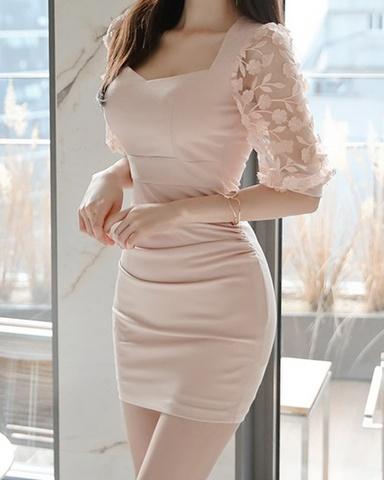 立体花装飾チュール袖ミニドレス