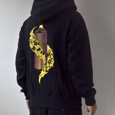 "再入荷!SINCA ZIP HOODED SWEAT ""spraycan"" ブラック"