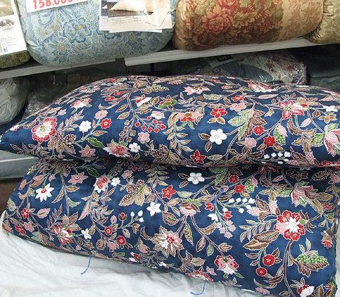 西川紬サテン手作り綿寝具(青)上下組