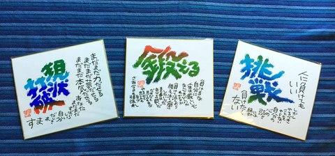 色紙3枚セット「鍛える・挑戦・現状打破」