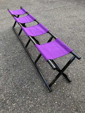 3人掛け胡床黒塗紫布