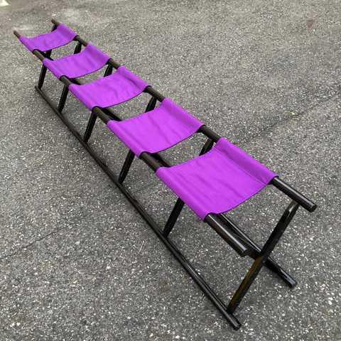 5人掛け胡床黒塗紫布