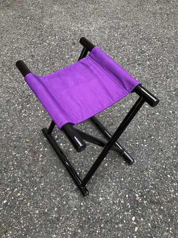 丸足胡床黒塗紫布