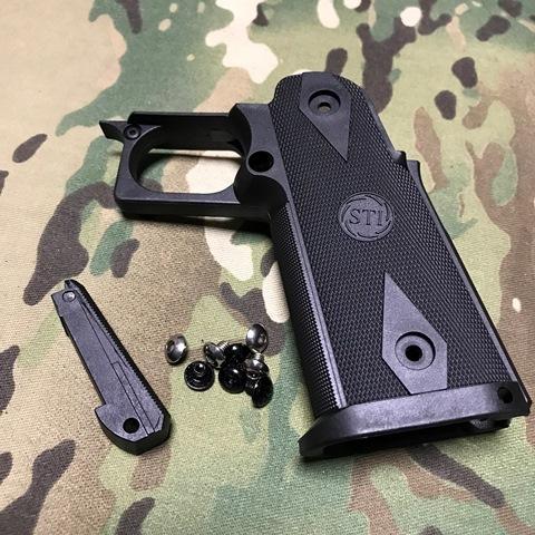 5KU製 東京マルイ ハイキャパ用STI タイプナイロングリップ Black