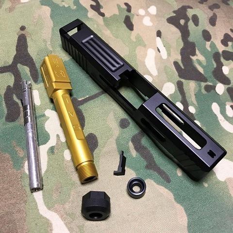 GunsModify マルイG19用SAI Tier1 スライドキット ゴールドバレル(M14逆)