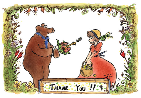 ThankYouカード「クマと女の子」