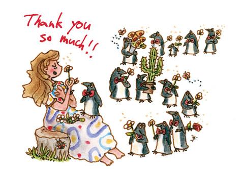 ThankYouカード「ペンギンと女の子」