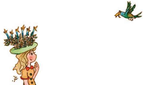 メッセージカード「トリの巣の帽子」