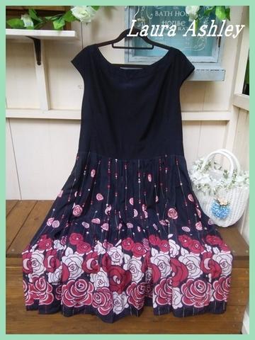 SOLD OUT【英国輸入】ローラアシュレイ・ブラック裾バラギャザーフレアーUK18