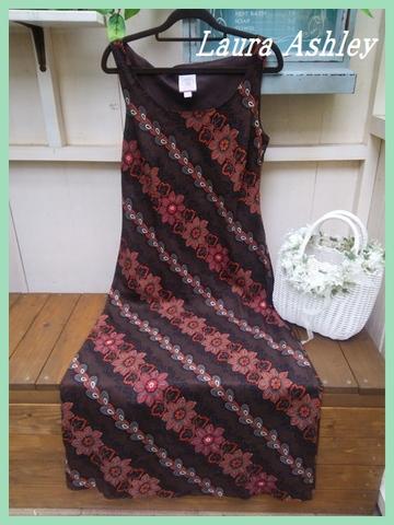 Sold Out【英国輸入】ローラアシュレイ・エスニック調ブラウンロングワンピUK12