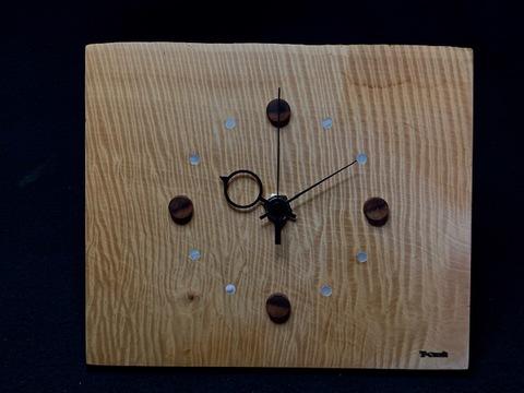 銘木時計06/栃縮み杢極上