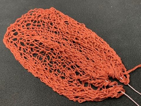 スペアー手編みネット02(染色済み/クレモナ) ●35目深さ22センチ