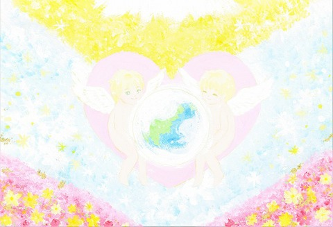 天使の愛に守られている地球(原画)