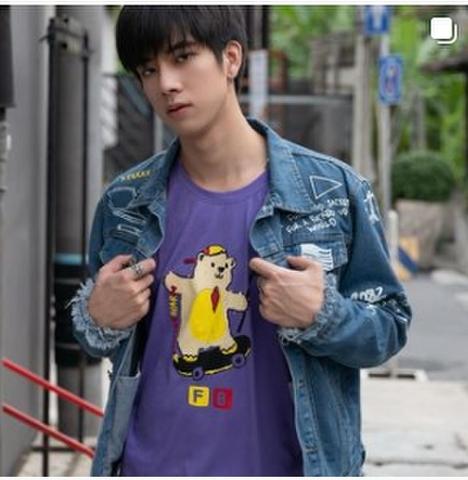 Frank Fishing Bear Tシャツ パープルA《eパケット代込》