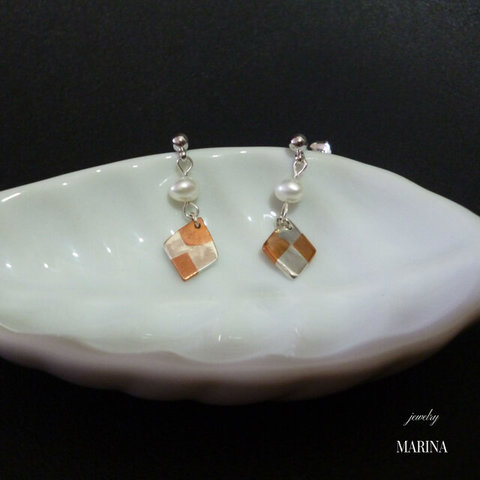 SQUARE small pearl - earrings