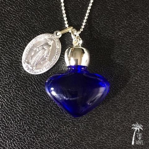 フランスアンティークメダイと香水瓶のネックレス  -Blue-