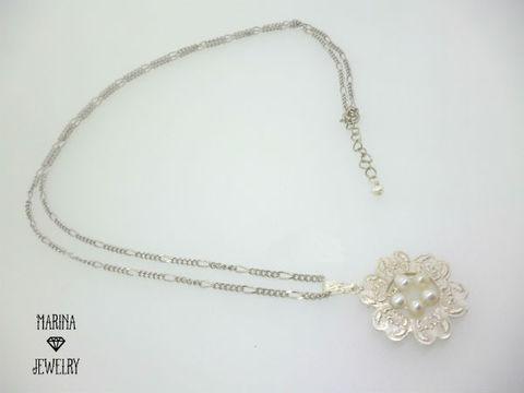 鈴蘭パールのロングネックレス -White-