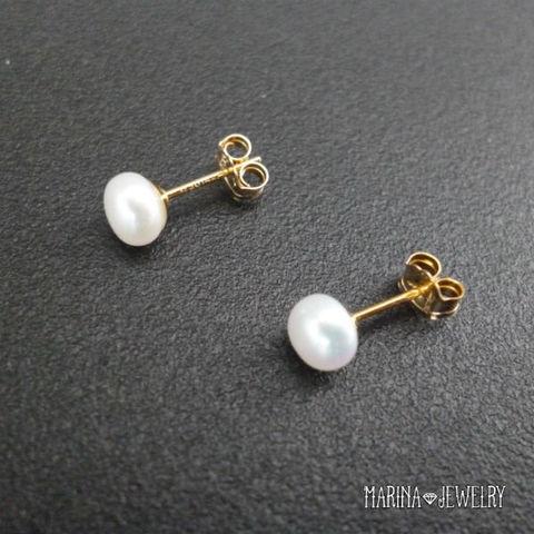 真珠のピアス - stud silver -