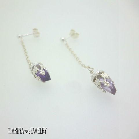 Blue Lily amethyst - silver -