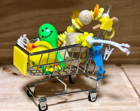 鳥さんおもちゃ箱カート イエロー