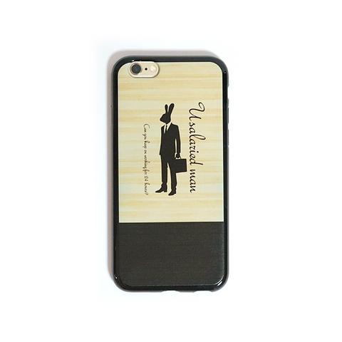 【即納可能】うさリーマン iPhoneケース 木目風<限定TPUモデル>