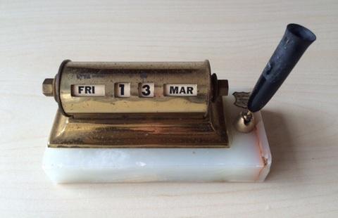 Vintage Desk Calendar Pen Holder