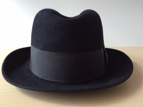 Vintage Lock & Co Hatters London Blk/Navy Fur Felt Fedora