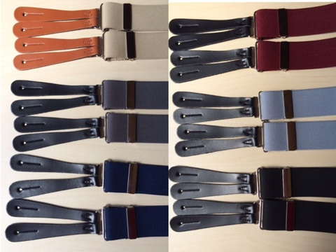 英国製Plain coloured button-on braces