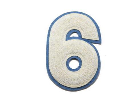 シニール4inch丸型「6」(または「9」)オフ白/オフ白/ブルーグレー ランクB