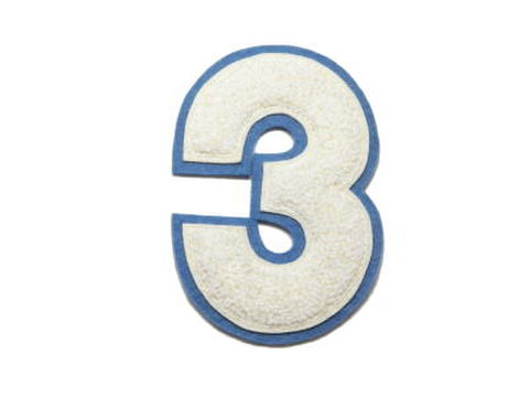 シニール4inch丸型「3」オフ白/オフ白/ブルーグレー ランクB