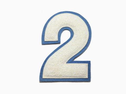 シニール4inch丸型「2」オフ白/オフ白/ブルーグレー ランクB