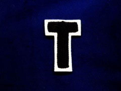 シニール2.5inch丸型「T」紺/白/‐ ランクB