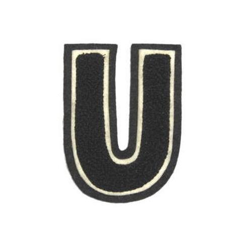 シニール3inch丸型「U」黒/白/黒 ランクC