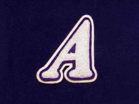 シニール3inch斜字「A」白/紫/白 ランクA