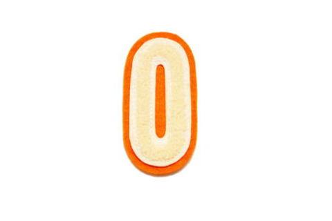 シニール3inch細丸型「O」オフ白/オフ白/オレンジ ランクB