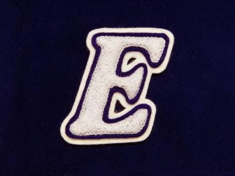 シニール3inch斜字「E」白/紫/白 ランクA