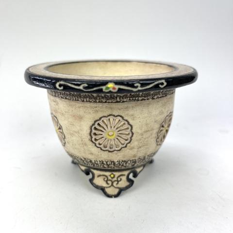 千野之雅作 象牙胴菊花紋透かし象嵌富貴蘭鉢