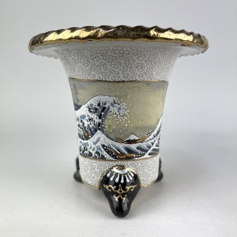 愛楽園制作 富嶽三十六景 神奈川沖浪裏図写し蘭鉢