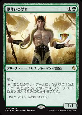 獣呼びの学者/Beastcaller Savant/BFZ-170/R/緑
