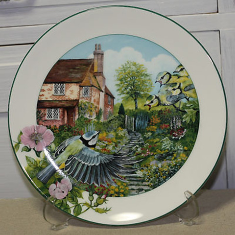 <Royal Doulton>飾り皿!英国の田園・庭のアオガラ(四十雀)