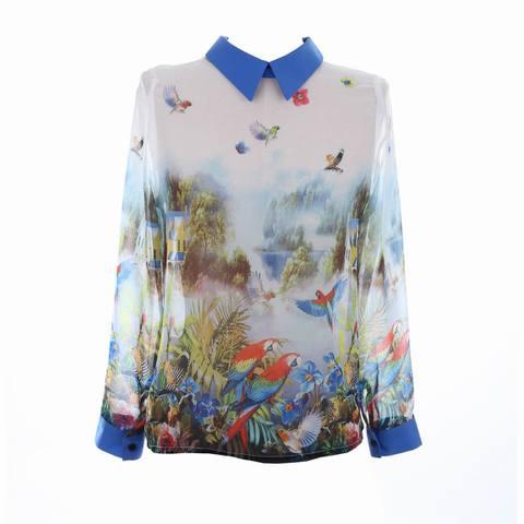 <鳥の楽園>シフォンシャツ!コンゴウインコ