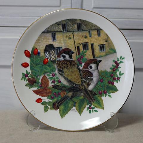 <コールポート>飾り皿!庭の訪問者・雀
