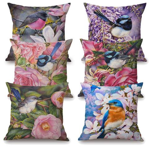 クッションカバー・小鳥と花