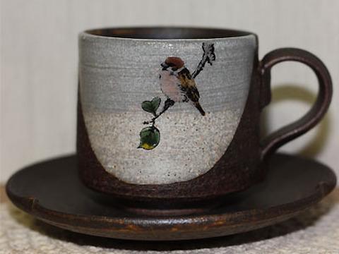 九谷焼! コーヒーカップ・風の詩・雀