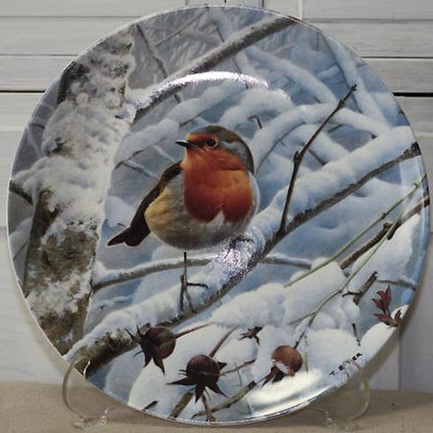 <WEDGWOOD>飾り皿!冬の夜明け・駒鳥