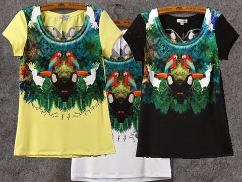 Tシャツ!トロピカル・インコ&オウム