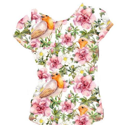 Tシャツ!駒鳥と花