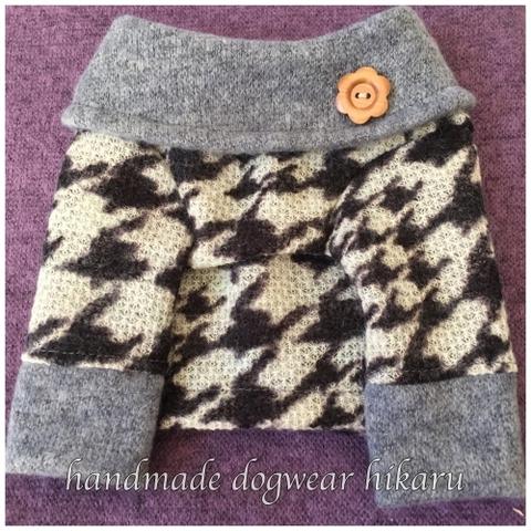 千鳥格子オフタートル編み地ニット 手作りワンコ服